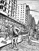 Linocut Linoluem Drawings Framed Prints - Street Work in New York Framed Print by William Cauthern