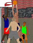 Brick Wall Pastels Prints - Streetball Shirts and Skins Hoopz 4 Life Print by Pharris Art