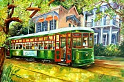 Oak Trees Framed Prints - Streetcar on St.Charles Avenue Framed Print by Diane Millsap