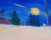 Streetlight Painting Prints - Streetlight and Snow Print by Charles Zigmund