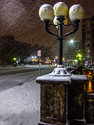 Streetlight Posters - Streetlight In Snow Poster by Marc Crumpler