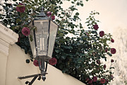 Streetlight Surrounded By Roses Print by Aiolos Greek Collections