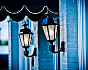 Historic Home Pyrography Metal Prints - Streetlights in history Metal Print by Shirley Tinkham