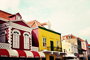 Colorful Buildings Prints - Streets of Curacao Print by Kim Fearheiley