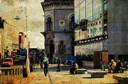 Beige Glass Framed Prints - Streets of Dublin. Painting Collection Framed Print by Jenny Rainbow