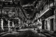 Drawn Photo Prints - Streets of Havana BW Print by Erik Brede