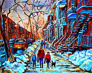 Urban Winter Scenes Framed Prints - Streets Of Montreal Framed Print by Carole Spandau