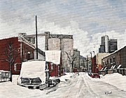 Pointe St. Charles Paintings - Streets of Montreal Pointe St. Charles by Reb Frost