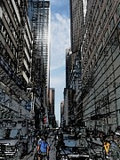 Nyc Posters Digital Art Metal Prints - Streets of New York City Metal Print by Mario  Perez