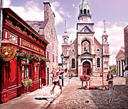 Minor Hockey Digital Art - Streets of Old Montreal  by Elizabeth Urlacher