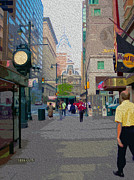 Philadelphia Mixed Media Metal Prints - Streets of Philadelphia Metal Print by Garland Johnson