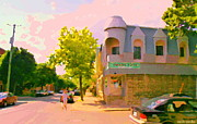 Fast Food Joints Prints - Streets Of Pointe St Charles Summer Scene Connies Pizza Rue Charlevoix Et Grand Trunk Carole Spandau Print by Carole Spandau