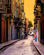 Old San Juan Metal Prints - STREETS of SAN JUAN Metal Print by Karen Wiles