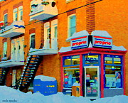 Verdun Landmarks Paintings - Streets Of Verdun Corner Depanneur Proprio Staircases In Winter Montreal City Scene Carole Spandau by Carole Spandau