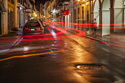 City Of San Juan Prints - Streetscene at Night in Old San Juan Puerto Rico Print by Bryan Mullennix