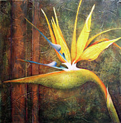 Strelitzia Painting Posters - Strelitzia and Copper Poster by Lorraine Ulen