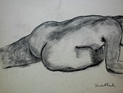 Reclining Female Nude Drawings Posters - Strength Poster by Kendall Kessler