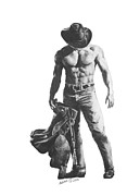 Harmony Drawings Posters - Strength of a Cowboy Poster by Marianne NANA Betts