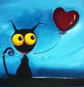 Stressie Cat Framed Prints - Stressie Cat and her love balloon Framed Print by Lucia Stewart