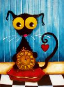 Stressie Cat Framed Prints - Stressie Cat and the Tick Tock Framed Print by Lucia Stewart