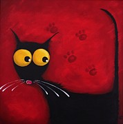 Cat Paw Prints - Stressie Cat Print by Lucia Stewart