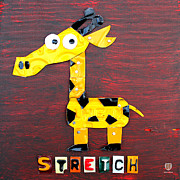 Animal Mixed Media Metal Prints - Stretch the Giraffe License Plate Art Metal Print by Design Turnpike
