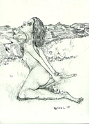 Stretching Drawings Prints - Stretching Nude Print by Joseph Wetzel