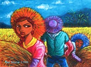 Rice Field Paintings - Strict si Itay by Paul Hilario