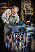 Blacksmiths Photos - Striking the Anvil - Blacksmith by Lee Dos Santos