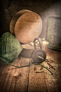 Still Life Photos - String Padlock Wood Blocks by Ian Barber
