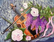 Violins Paintings - Strings and Roses by Joni McPherson