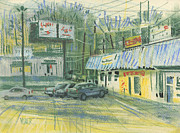 Shops Drawings Prints - Strip Mall Bar Print by Donald Maier