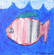 Autism Art Posters - Striped Fish Poster by Michael Gaitan