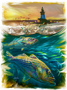 New England Ocean Painting Posters - Striper and Lighthouse - Striped Bass Art Poster by Mike Savlen