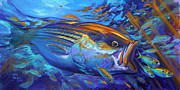 Bass Painting Prints - Striper Blitz Print by Mike Savlen