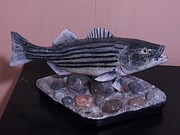 Bass Wood Sculpture Posters - Striper Poster by Richard Goohs