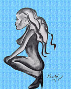 Dancing Girl Pastels Prints - Stripper Chic Pale Blue Print by Karen Larter
