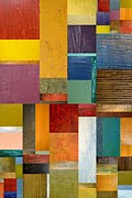 Textural Framed Prints - Strips and Pieces ll Framed Print by Michelle Calkins
