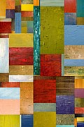Textural Framed Prints - Strips and Pieces lll Framed Print by Michelle Calkins