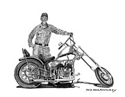 Single Drawings Posters - Strokers 1948 Harley WLA Poster by Jack Pumphrey