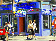 Outdoor Cafes Posters - Strolling By The Blue Boy Frozen Yogurt Glacee Cafe Plateau Mont Royal City Scene Carole Spandau   Poster by Carole Spandau