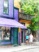 Purple Awnings Prints - Strolling Down Thames Street Newport RI Print by Susan Savad