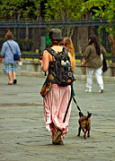 Dog Walking Metal Prints - Strolling in Jackson Square Metal Print by Steve Harrington