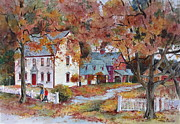 New England Village  Paintings - Strolling in Old Deerfield by Sherri Crabtree