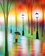 Oil Lamp Mixed Media Prints - Strolling in the Rain Print by Chris Fraser