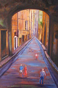 Menton Prints - Strolling Through Menton France Print by Diane Quee