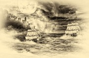 Heavy Weather Prints - Stroms At Split Rock Light House Sepia Print by Todd and candice Dailey