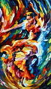 Dance Posters - Strong Flamenco Poster by Leonid Afremov