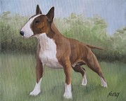 English Bull Terrier Paintings - Strong by Jindra Noewi