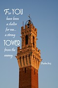 Sienna Italy Posters - Strong Tower Poster by Barbara Stellwagen